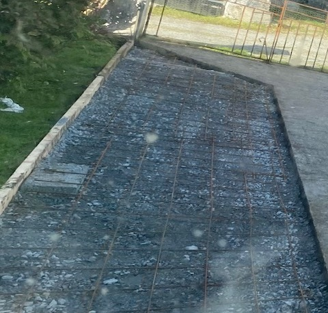 driveway prepped for concrete pouring